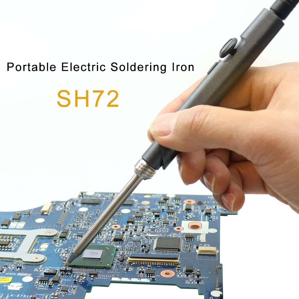 SH72 65W Mini Electric Soldering Iron Adjustable Temperature Portable Solder Welding Station DC Power Input 220-400C With Tin