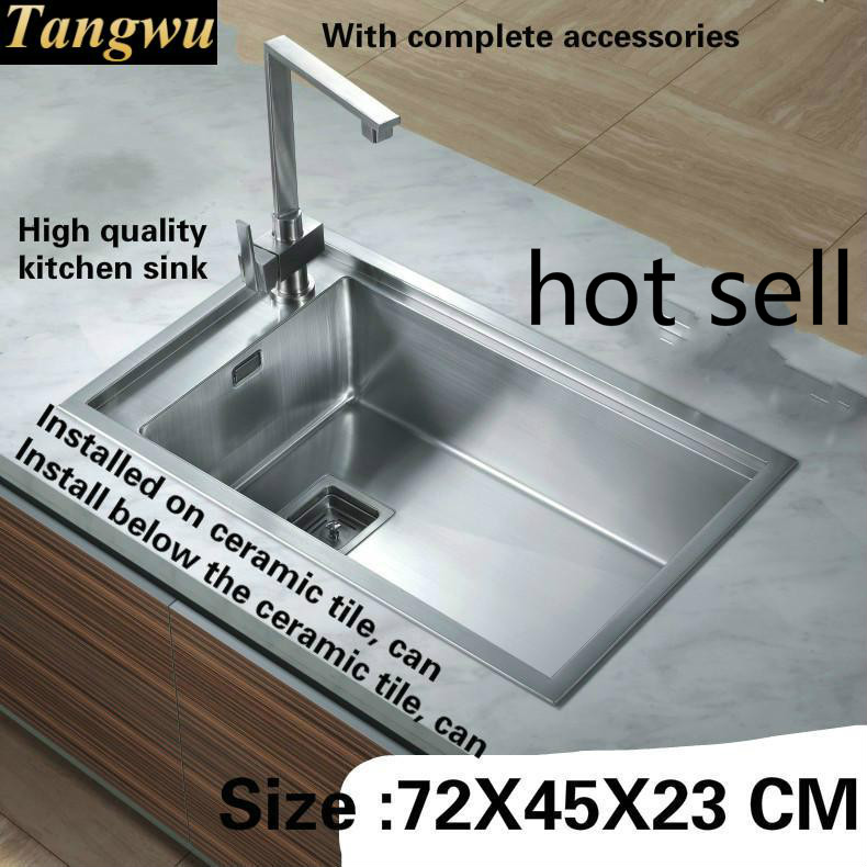 Tangwu Apartment  Kitchen Sink Handmade 1.2 MM Thick Food-grade 304 Stainless Steel Large Single Slot 720x450x230 MM