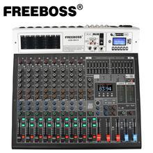 Freeboss — Mixeur audio ADM GBA 10 à 10 canaux 48 V, alimentation fantôme, effet de répétition, USB, lecture et enregistrement, bluetooth, karaoké, console DJ, 99DSP