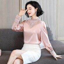 Lace Shirt Silk Pullover Female Tops Women Blouse Simulation-Silk Satin Sexy Casual Fashion