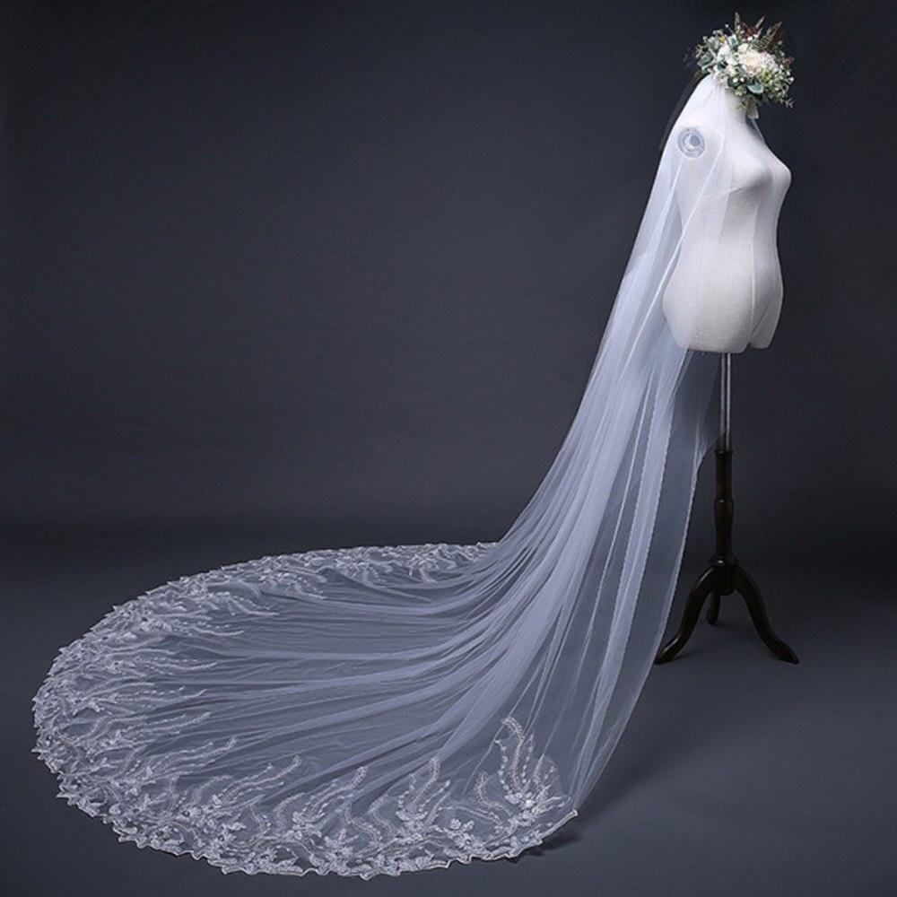 Princess Wedding Veils Long Tail Lace Appliques Beautiful Bride Veil White Gorgeous Bridal Veils Wedding Accessories
