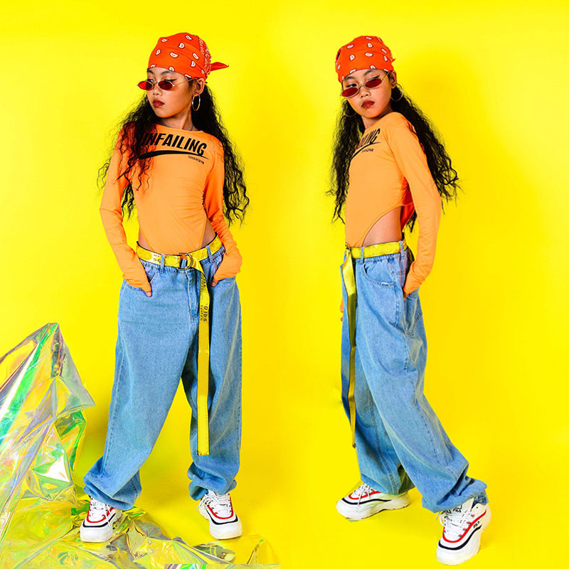 Kids Jazz Dance Costume Girls Hip Hop Clothing Street Dance Costumes Bodysuit & Pants Performance Dance Stage Outfits DQS2556