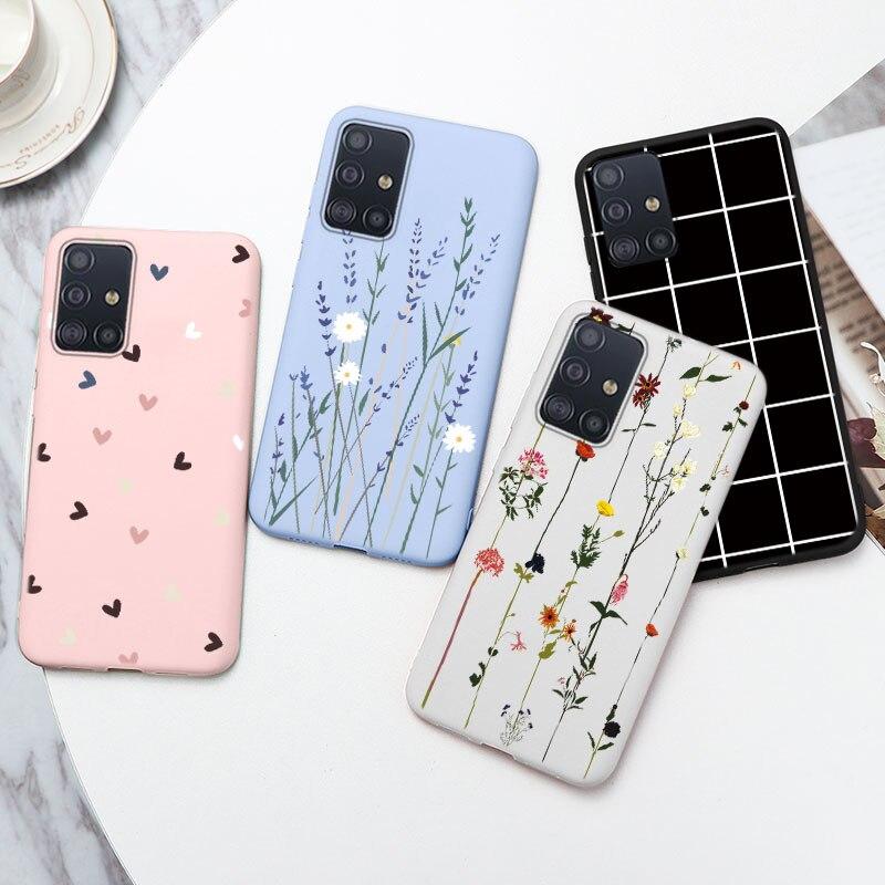 Чехол для Samsung Galaxy A51, мягкий силиконовый чехол-накладка для Samsung A51 SM A515F A515 A 51, чехлы для телефонов с цветочным рисунком сердца