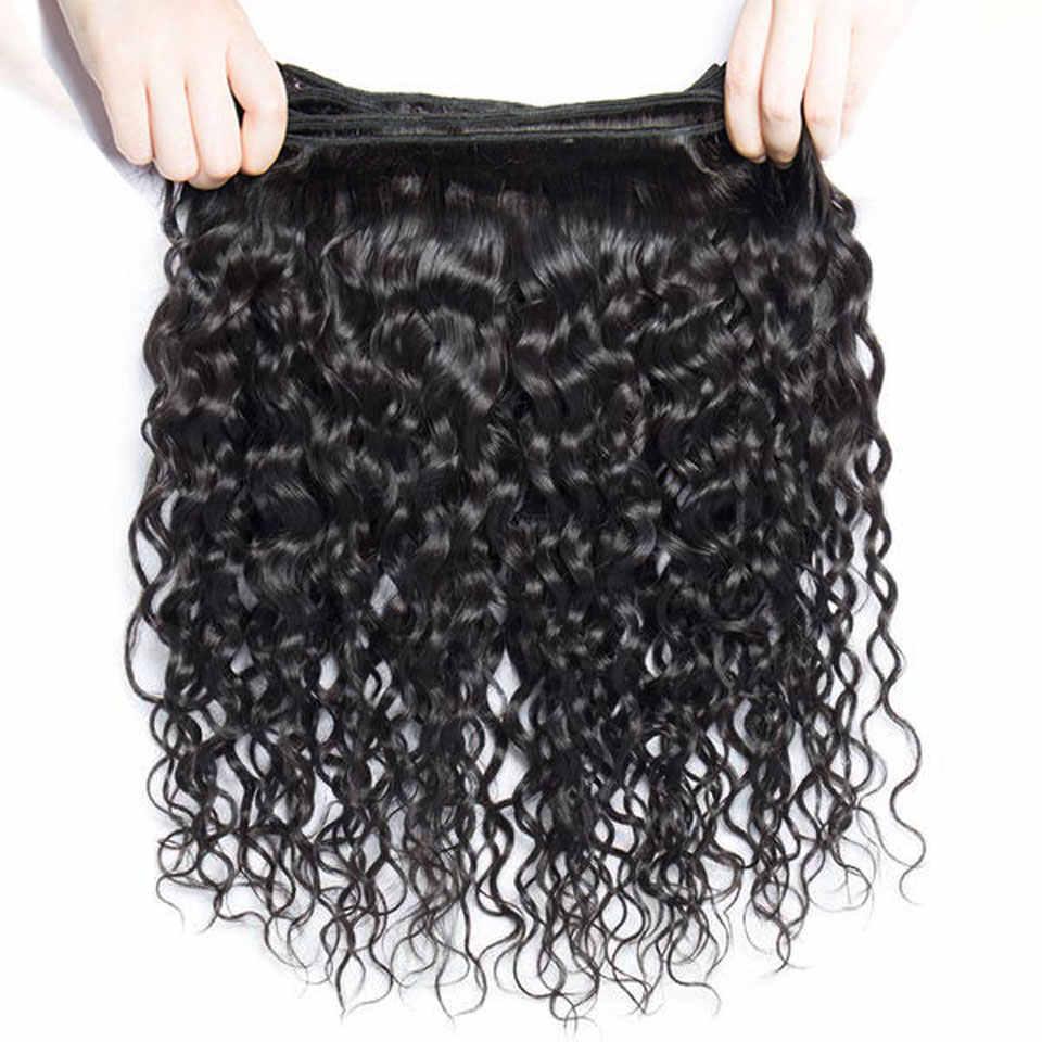 Braziliaanse Haar Weefsel Bundels Water Wave Bundels Met Vetersluiting 100% Human Hair 3 Bundels Met Sluiting Non-Remy lanqi