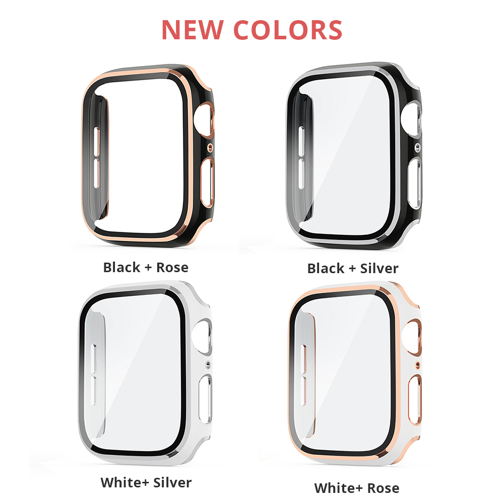 Compatible Apple Watch Series 6 SE Case 44mm 40mm Glass Film With Screen Protector Full Coverage For Iwatch 6 5 4 3 2 42mm 38mm 2