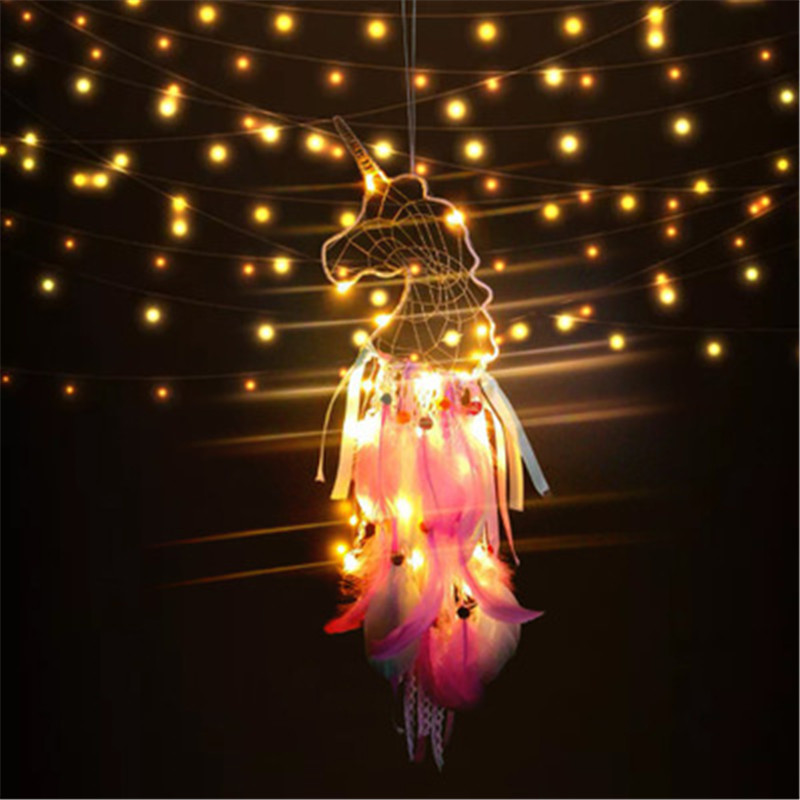 LED Light Unicorn Dream Catcher Wind Chimes Kids Girls Bedroom Decoration Art Hanging Pendant Lucky Dreamcatcher Handmade Craft
