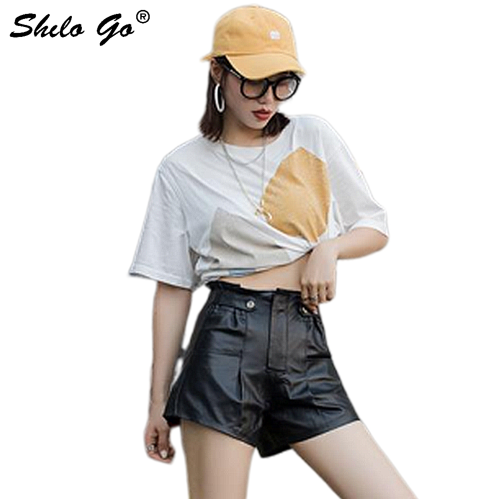 Genuine Leather Shorts Minimalist Ruffles High Waist Button Front Wide Leg Shorts Women Autumn Casual Elastic Waist Mini Shorts