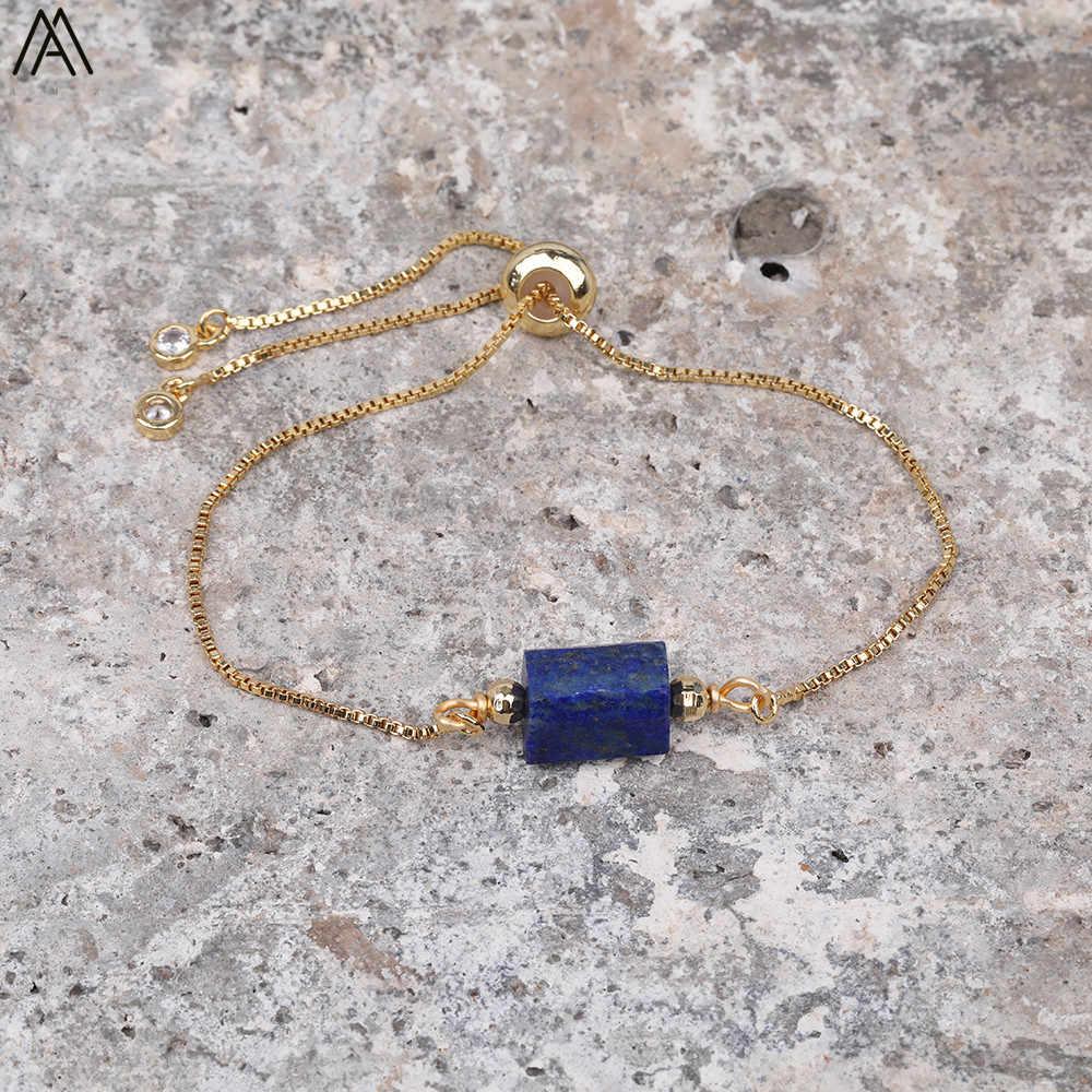 ธรรมชาติ Aquamarines หิน Chunky ลูกปัด Handmade GOLD สร้อยข้อมือลูกปัดหินธรรมชาติเครื่องประดับสร้อยข้อมือของขวัญ N0442AMD