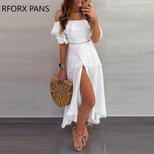 Off Shoulder Ruffle Tops Split Skirt Sets