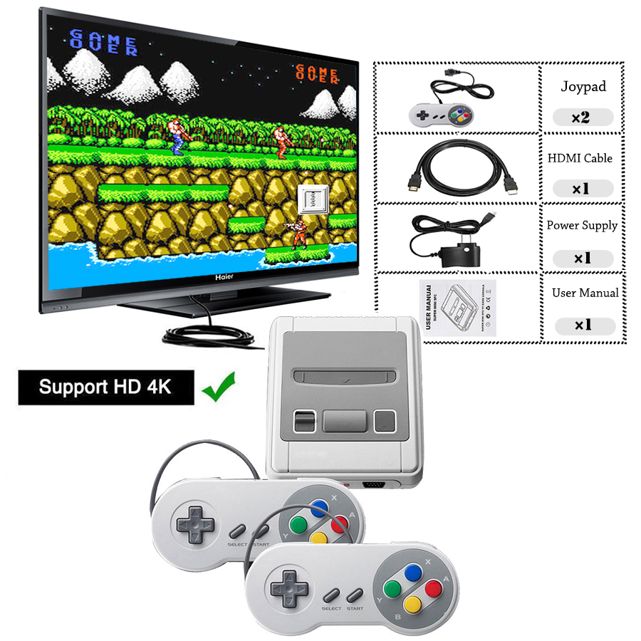 Super SNES Mini HD Family TV 8 Bit Video Game Console Retro Classic HD Output Handheld Game Player Built-in 621 Games 2 Gamepads