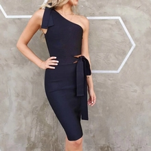New Fashion Sexy One Shoulder Bandage Dress Women Celebrity Mature Short Dress Sexy Bodycon Party Outfit Clothing Dropshipping