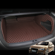 Lsrtw2017 Leather Car Trunk Mat Cargo Liner for Audi A4 2007 2008 2009 2010 2011 2012 2013 2014 2015 2016 A4 B8 Accessories overe 1set car cargo rear trunk mat for honda civic 2009 2010 2011 2012 2013 2014 2015 boot liner tray anti slip mat accessories