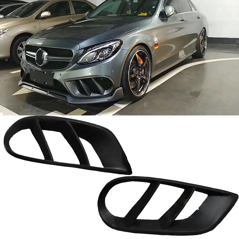 C Class FRP Front Bumper Air Vent Outlet Cover Trim for Mercedes Benz <font><b>W205</b></font> C43 <font><b>AMG</b></font> C180 <font><b>C200</b></font> Sport 2015-2017 FogLamp Grill Frame image