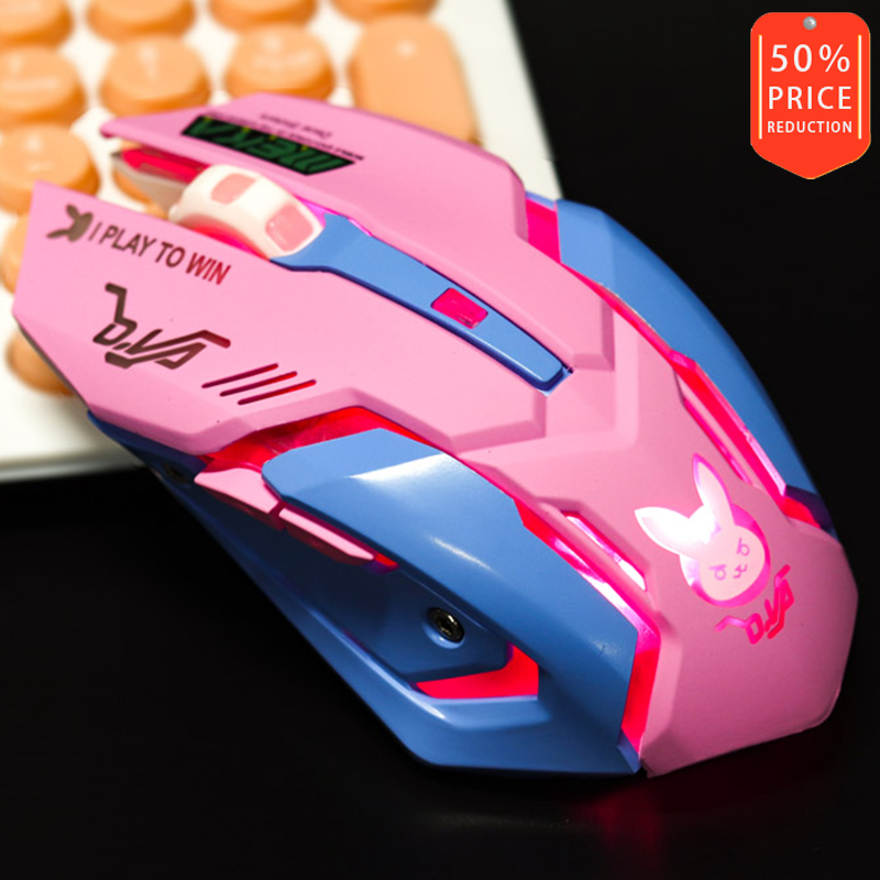 Overwatch D.Va Rechargeable Wireless Mouse Optical Engine Mute Variable Light With Multiple Colors HM-02