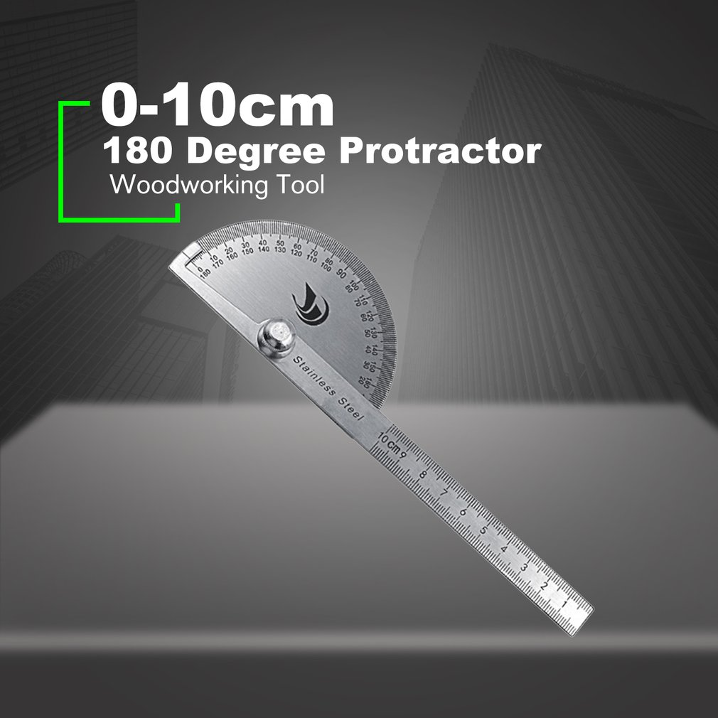 0-10cm Stainless Steel Protractor 180 Degree Protractor Angle Finder Arm Rotary Measuring Ruler Angle Ruler Woodworking Tool