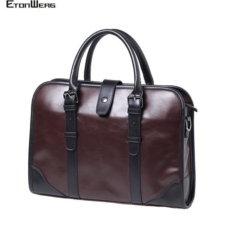 Business Office Men Briefcase Brand PU Leather Handbag Male Computer Laptop Shoulder Bag Solid Vintage Tote Brown Travel Bags