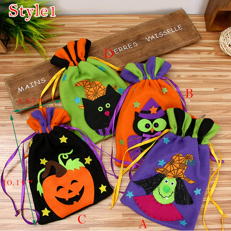 Halloween Drawstring Bag Brushed Cloth Candy Bag Halloween Decoration Props Supplies Thank You Gift Birthday Party Favor Bags