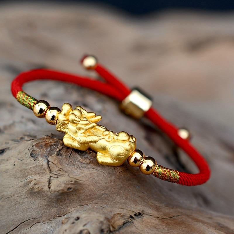 Lucky Red Rope Bracelets Pixiu Gold Color Tibetan Buddhist Knots Adjustable Charm Bracelet For Women Men