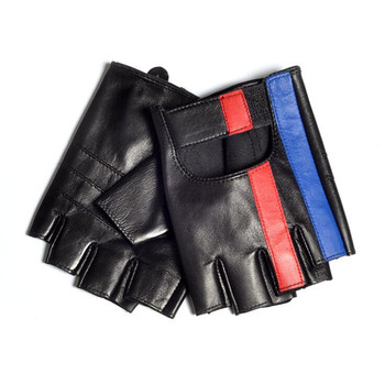 Luxury Men Semi-Finger Genuine Leather Gloves Men's Driving Unlined Half Fingerless Sheepskin Gloves For Male Mitten genuine leather gloves for women fingerless black fashion sheepskin wool one gloves winter half finger driving soft new arrival