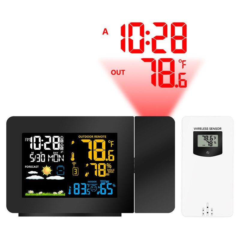 Проекционный Будильник Метеостанция красочная подсветка с наружными датчиками влажность в/на открытом воздухе температура время