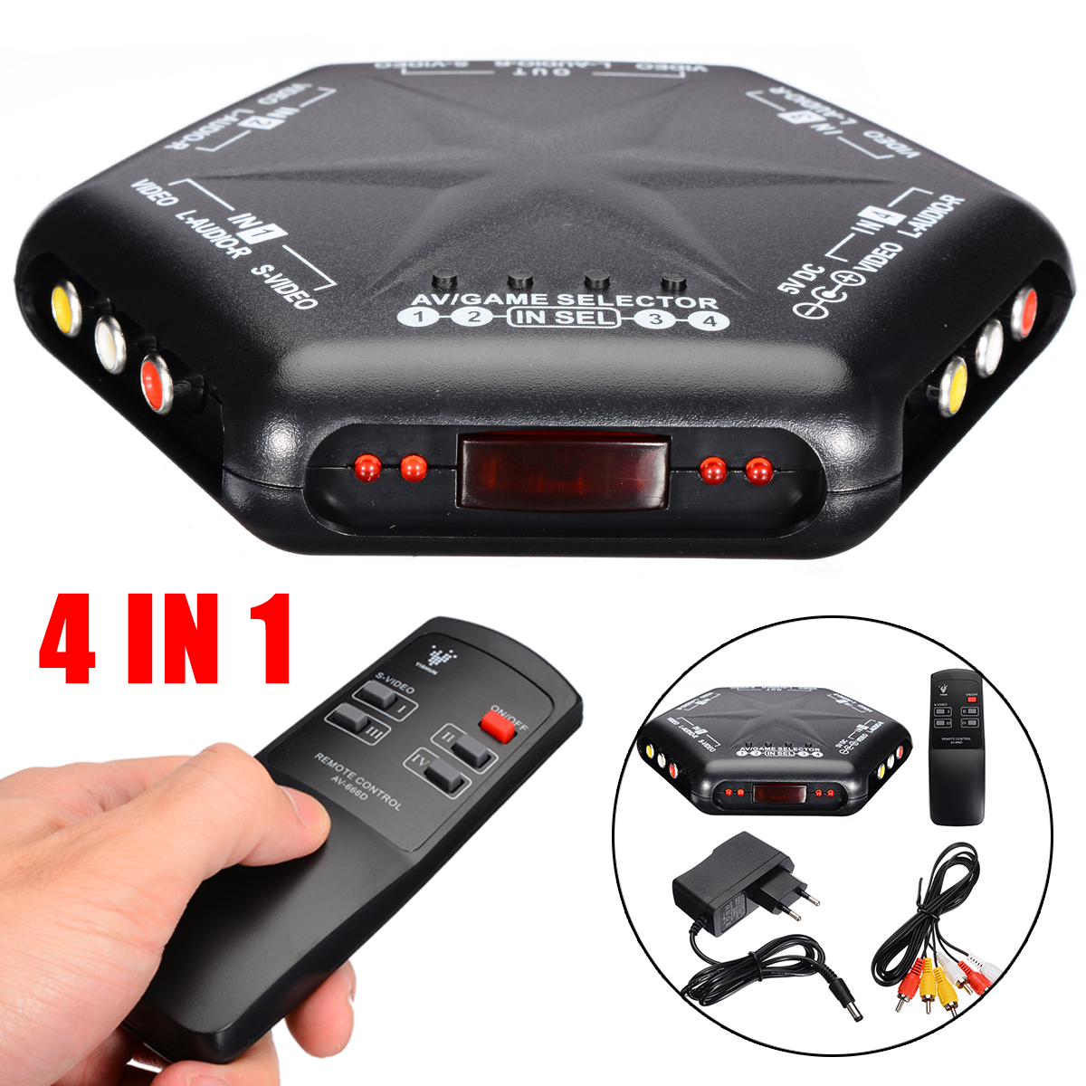 4 in 1 out Audio Video AV Game <font><b>RCA</b></font> <font><b>Switch</b></font> Selector Box Splitter with A/V <font><b>Switch</b></font> +<font><b>RCA</b></font> Cable+<font><b>Remote</b></font> Control+Adapter for DVD VCR image