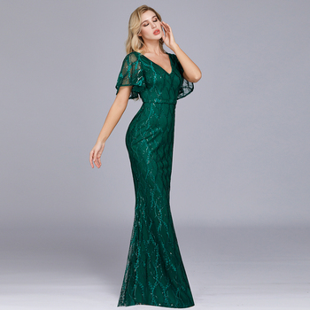 Sparkle Sexy Mermaid Evening Dresses Long Sequined V-Neck Sparkle Evening Gowns For Party Vestidos Largos Fiesta 2019 New Dress 5