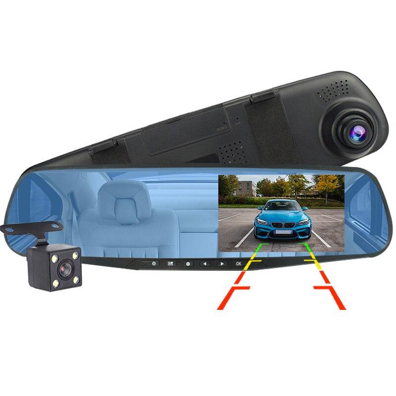 4,3 дюймов Автомобильный DRV Full HD 1080P Двойной объектив видео Регистраторы зеркало заднего вида видеорегистратор камеры переднего и заднего ви...