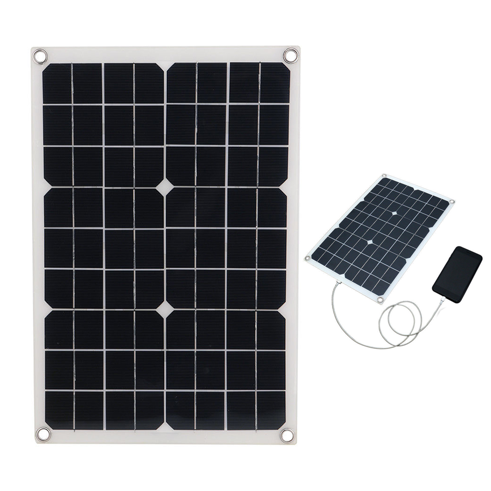 18V 20W Solar Panel USB Monocrystalline with Car Charger for Outdoor Camping Emergency Light Waterproof
