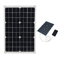 18V 20W Solar Panel USB Monocrystalline Solar Panel with Car Charger for Outdoor Camping Emergency Light Waterproof