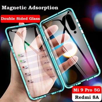 Перейти на Алиэкспресс и купить Полностью Магнитный чехол на 360 градусов для Xiaomi 10 5G CC9 Pro Note 10 lite Coque двойной стеклянный металлический бампер Redmi Note 9S 8 8T 7 8A K30