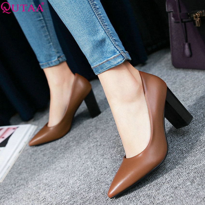 QUTAA 2020 Women Pumps Pu Leather All Match Pointed Toe Women Shoes Fashion Platformslip On Casual Wedding Shoes Size 34-43