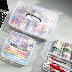 Transparante Pvc Multifunctionele Briefpapier Organisator Doos Grote Capaciteit School Desktop Washi Tapes Potloden Organisator Opbergdoos