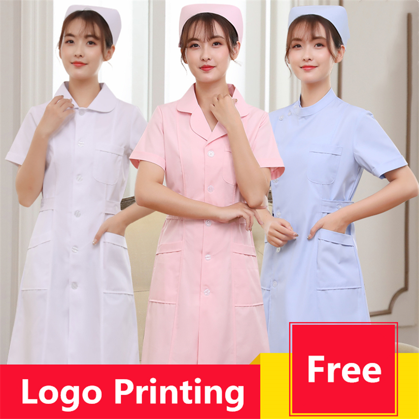 Woman Nurse Uniforms Medical Surgical Hospital Dental Pharmacy Work Wear White Short Sleeve Lab Coat Beauty Salon Doctor Clothes