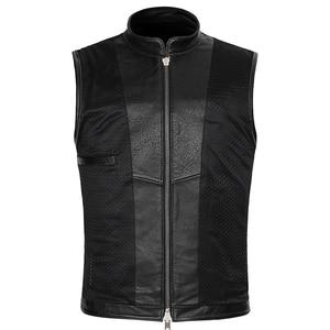 Image 5 - Real Leather Biker Vest Mens Stand Collar Zipper Pockets Motorcycle Vest Jackets Waistcoat Genuine Cow Leather Black Slim