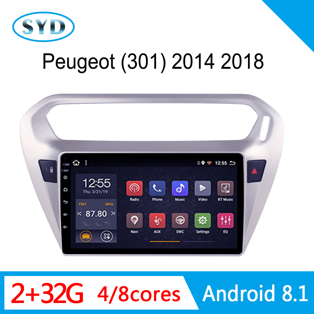RAM 2G car Video for <font><b>PEUGEOT</b></font> <font><b>301</b></font> DVD Citroen Elysee 2013-2016 central multimedia radio stereo 1 din Android 8.1 GPS WIFI AM FM image