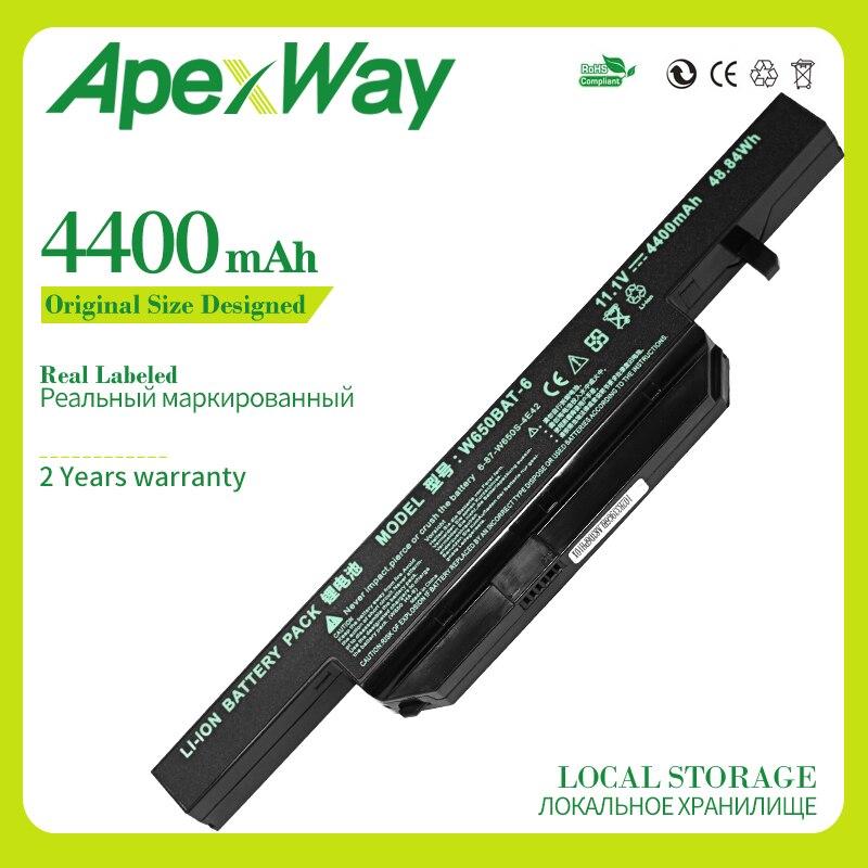 Apexway 4400 MAh Laptop Battery For Hasee K610C K650D K570N K710C K590C K750D Series Clevo W650S W650BAT-6 Batterie
