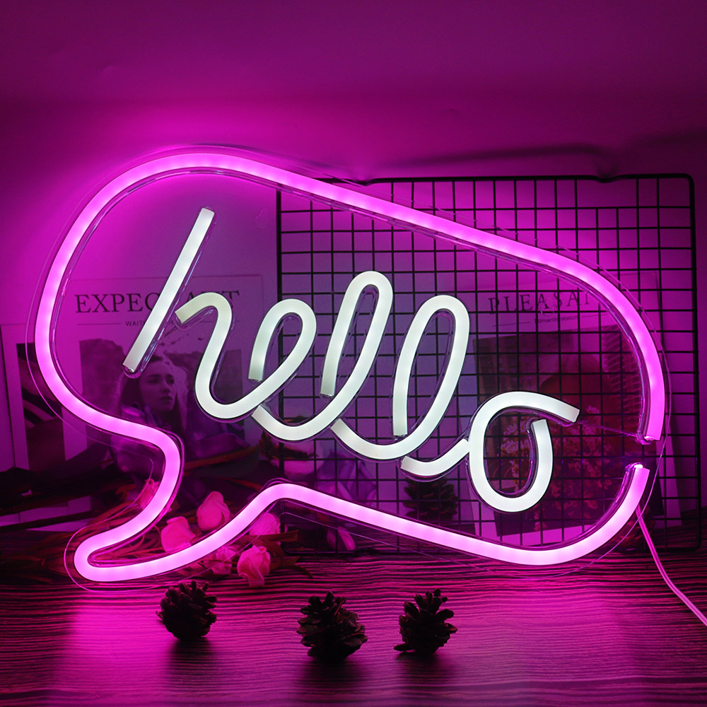 Hello LED Neon Light Sign Letters Neon Sign Panel Holiday Christmas Party Wedding Decorations Home Wall Decor Neon Lamp Gifts