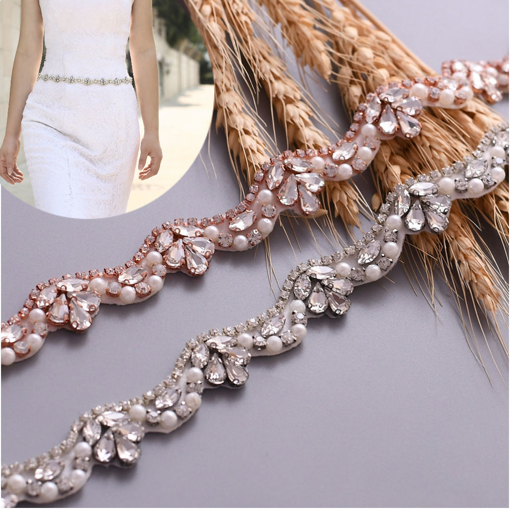 TOPQUEEN  Sash Set For Wedding Crystal Bridal Wedding Belt Glitter Rhinestone Belt Fashion Silver Rose Gold Sequin Belt S421G