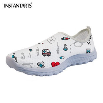 INSTANTARTS 2019 Spring Summer Funny Flats Women Shoes 3D Printed Sneakers Nurse Pattern Casual Mesh Light Shoe Zapator De Mujer instantarts summer sneakers nurse flats shoes 3d cartoon nursing print women casual lace up mesh walk sneakers zapatillas mujer