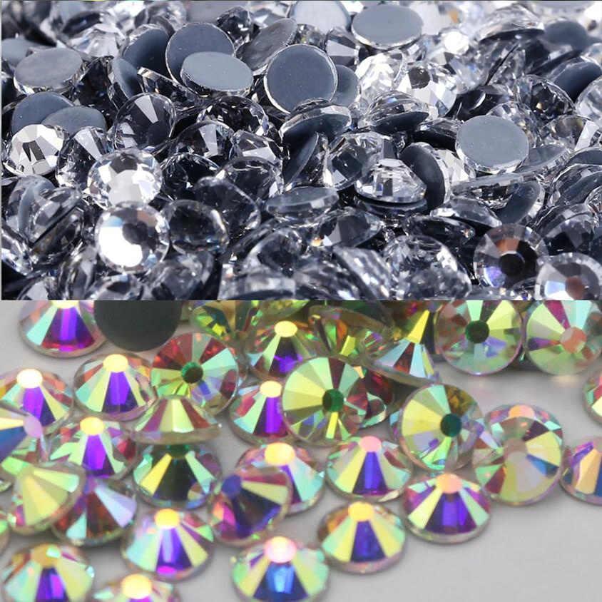 Hot-Fix Iron-On Flat-Back Beads Rhinestones White Clear Crystal AB Multi Sizes
