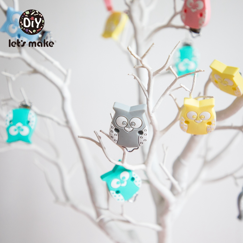 Let's Make 5pcs Pacifier Clip Silicone Rodent Teether Owl Butterfly Cartoon Animal Metal Holder For Nipples DIY Pacifier Chain