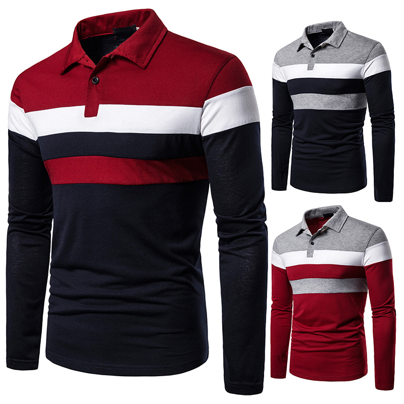 Men's Polo  Tri-color Stitching Fashion Design Recreational Cross-border Men's Collar Long Sleeve Polo Shirt
