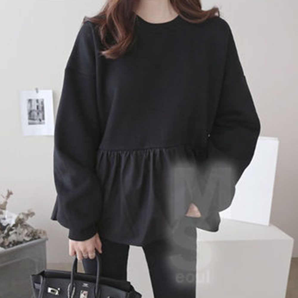 Outono manga longa feminino hoodie coreano moda babados retalhos solto pulôver topos harajuku oversized moletom streetwear