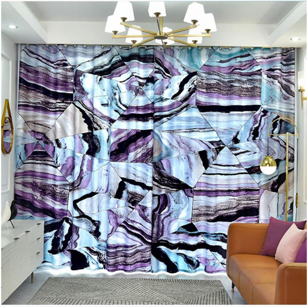New curtains custom bedroom living room simple modern personality creative geometric blackout curtains purple curtains