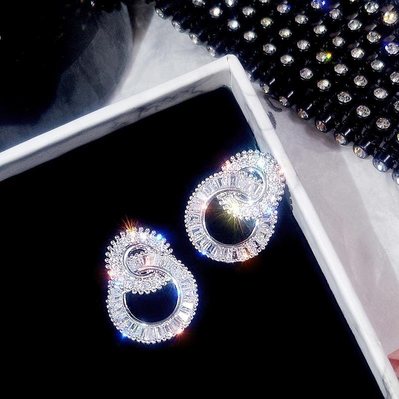 S925 Sterling Silver Color Round Cute Bling Zircon Stone Stud Earrings for Women Fashion Jewelry 2019 New Korean Earrings 2