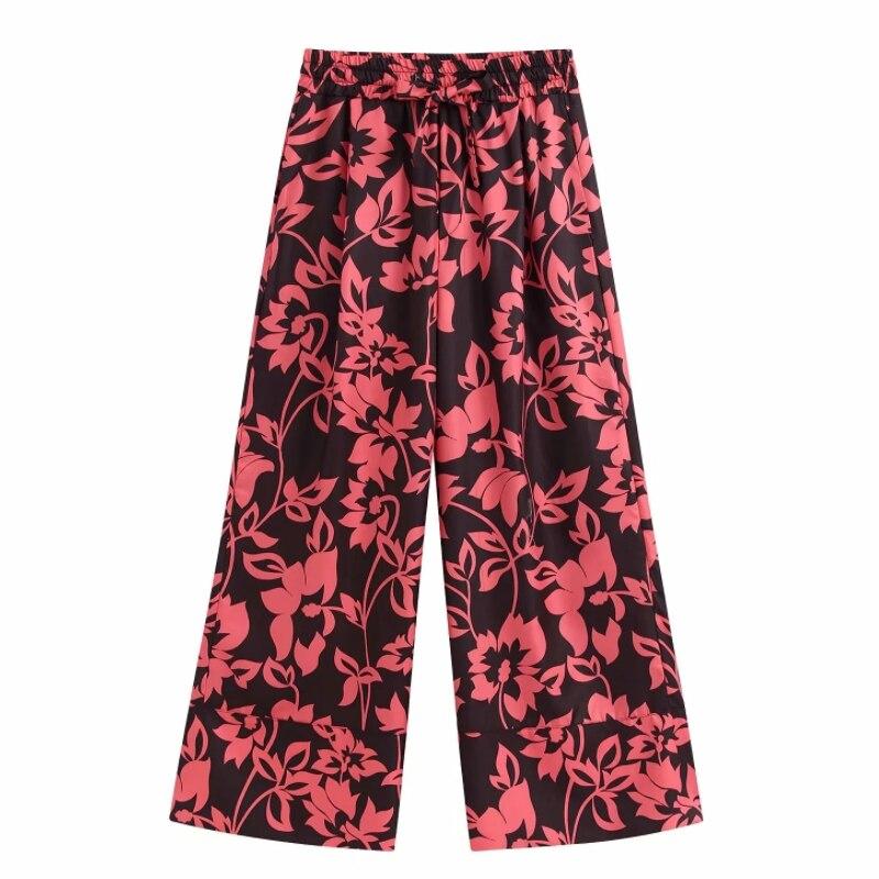 Women vintage leave print kimono style   wide     leg     pants   femme ankle length Trousers office ladies wear casual slim chic   pants   P605