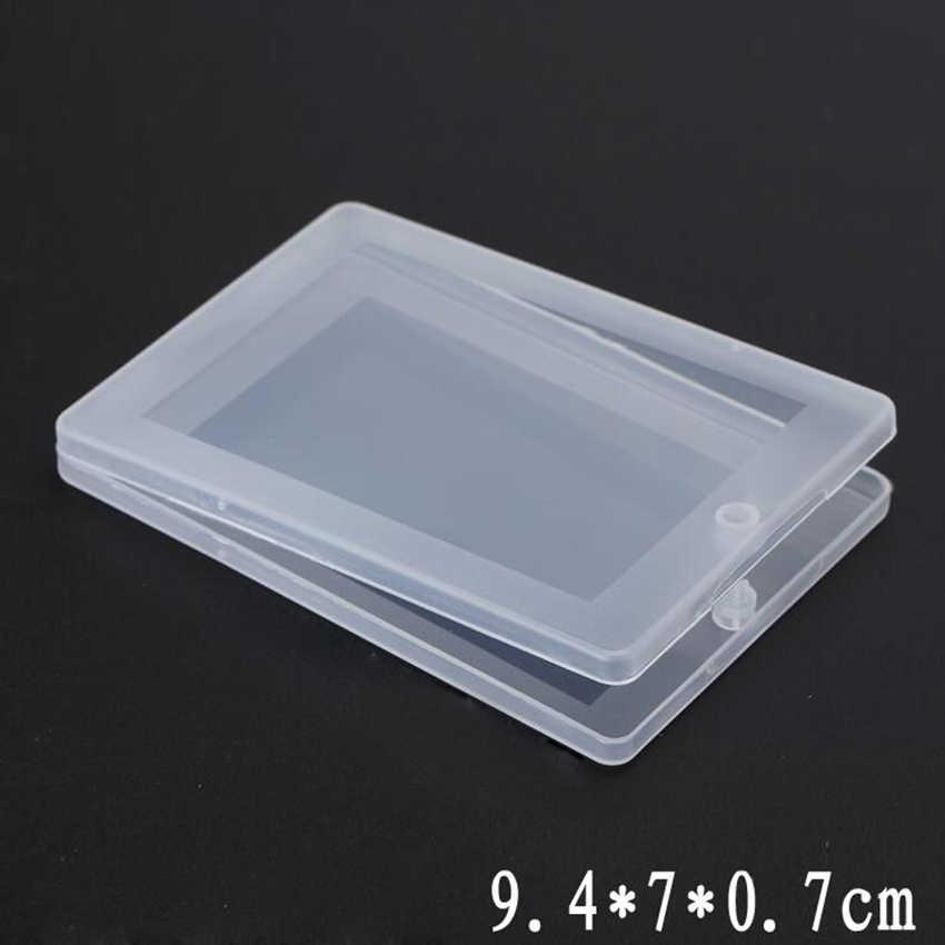 1 قطعة صغيرة المحمولة رقيقة البلاستيك الشفاف مع غطاء جمع الحاويات صندوق تخزين من الألومنيوم لبطاقة ، بطاقة البنك ، منشفة ورقية