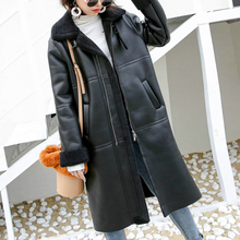 OFTBUY % 2020 çift yüzlü kürk gerçek deri ceket gerçek kürk ceket kış ceket kadınlar doğal koyun kürk uzun giyim streetwear yeni