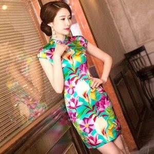 Image 3 - Mùa Hè Năm 2019 Trung Quốc Mới Sườn Xám Váy In Hình Nguyên Chất Lụa Qipao Đầm Cổ Tròn Tu Dưỡng Đạo Đức Hãng Sản Xuất Bán Buôn