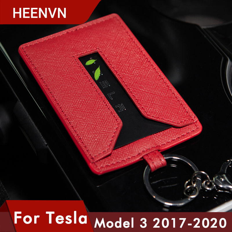 Heenvn Model3 Car Leather Key Card Holder Protector Cover Key For Tesla Model 3 Accessories Black Key Fob Case Bag Three 2020